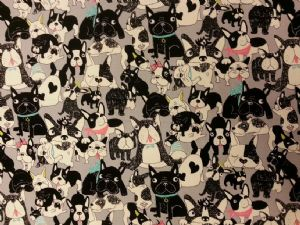 NEW! DOGGIE DELIGHT GREY - Fabric 80% Cotton 20% LINEN - Price Per Metre